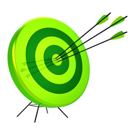 Green target precision hit by three arrows bulls-eye bullseye archery shooting icon. Success focus aiming ambition concept. 3d rendering
