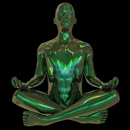 Metallic human mental guru zen character green. Figure stylized man lotus pose black polished colorful reflections. Peaceful nirvana yoga position icon. 3d rendering 版權商用圖片 - 131586664