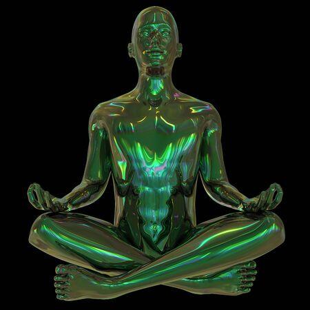 Metallic human mental guru zen character green. Figure stylized man lotus pose black polished colorful reflections. Peaceful nirvana yoga position icon. 3d rendering