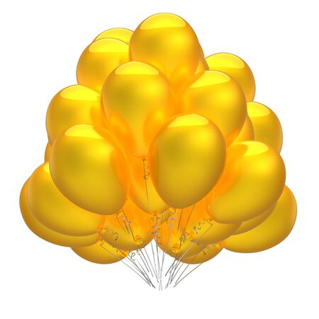 Yellow balloon bunch flying up party birthday celebrate decoration bright sunny glossy. 3d rendering Banque d'images