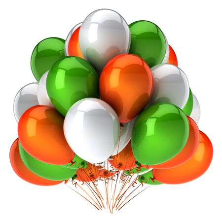 Carnival balloon bunch orange green white party birthday celebrate decoration glossy. 3d rendering