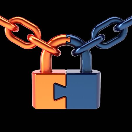 Lock padlock security data chain join safeguard. Puzzle link closed security protection concept blue orange parts. Access secret system icon. 3d illustration on black Фото со стока