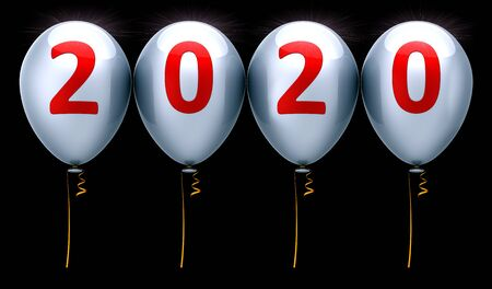 Happy New Year 2020 party balloons anniversary silver red sparkling. Celebration banner numbers twenty background. 3d illustration