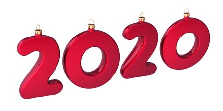 New Year 2020 twenty number as Christmas baubles red sparkling. Happy New Years Eve anniversary celebration banner. 3d illustration