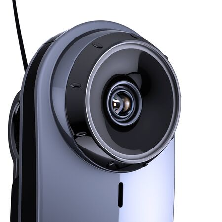 Lens digital eye camera photo looking shadowing. Video surveillance security computer biometric scan electronic vision concept. 3d illustration