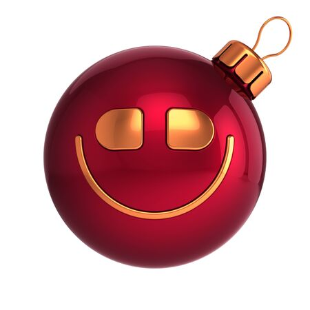 Funny Christmas ball head red gold smiling face emoji emoticon. Happy New Years Eve Merry Xmas decoration concept. 3d illustration Banque d'images