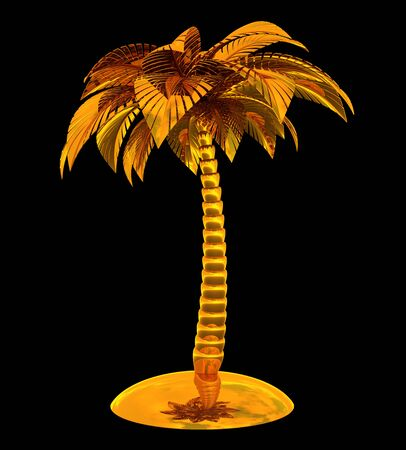 Gold palm tree souvenir stylized island tropical plant nature yellow metallic polished. Exotic tourism symbol design element. 3d rendering isolated on black