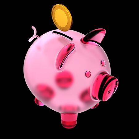 Piggy bank pink empty glass and golden coin over it. Money donate, piggybank pension, earning banking savings, finance profit capital concept. 3d rendering over black Banque d'images