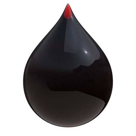 Black oil drop petrol gasoline droplet glossy. Petroleum liquid fuel engine lubricant symbol. Water pollution icon concept. 3d rendering