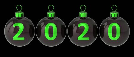 New Year 2020 Christmas balls decoration black with green neon date numbers twenty. Merry Xmas greeting card design element. 3d rendering, isolated on black