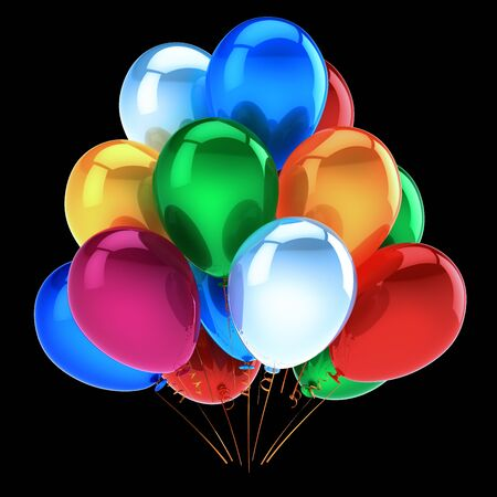 happy birthday balloons bunch colorful party decoration beautiful celebrate event symbol. 3d illustration isolated on black