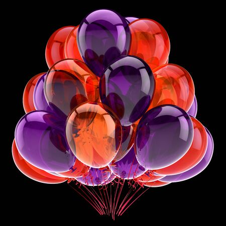 Colorful purple orange balloon bunch happy birthday party celebrate decoration symbol. Greeting card invitation design element. 3d rendering isolated on black