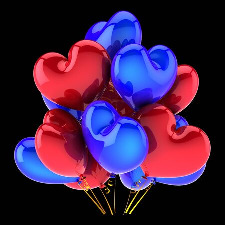 Birthday party heart balloons baloons bunch blue red glossy decoration. Love Valentine's Day wedding marriage greeting card design element. 3d rendering over back Banque d'images