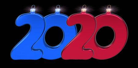 New 2020 Year's Day date double twenty numbers Christmas baubles blue red. New era wintertime holiday  decoration banner. 3d illustration over black