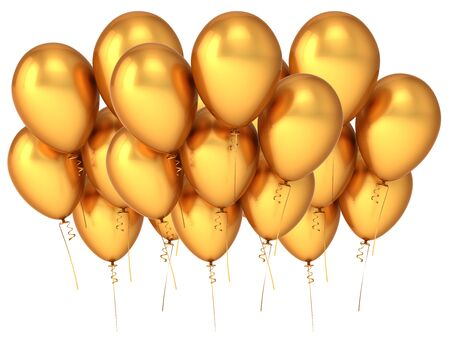 Balloons party baloon gold group banner. Happy New Year event decoration helium ballon cluster luxury metallic. 3d rendering Banque d'images
