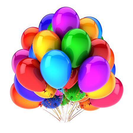 Colorful multicolored party balloons baloons bunch. Birthday event decoration. Happy New Year Merry Christmas celebration symbol. 3d illustration