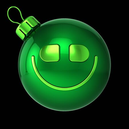 Smiling green Christmas ball head face funny. Happy New Year bauble cartoon expression decoration. Merry Xmas cheerful person laughing character avatar. 3d rendering over black