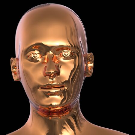 Android robot golden head friendly eyes face iron polished solid. Futuristic dummy character portrait metallic. 3d rendering isolated on black