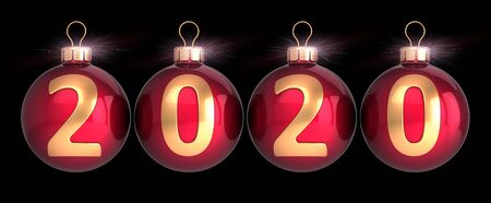 New 2020 Year's Eve Christmas balls decoration red with golden calendar date numbers double twenty. Merry Xmas greeting card design element. 3d rendering over black Banque d'images