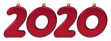 New 2020 Year twenty numbers as Christmas baubles red glossy. Happy New Year's Day anniversary celebration banner. 3d rendering