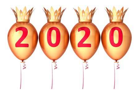 Gold New 2020 Years Eve baloon party balloons with crowns royal golden glossy red date numbers. 3d rendering