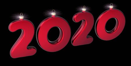 New 2020 Year date numbers as Christmas bauble red sparkling. Happy New Years Eve anniversary celebration banner. 3d rendering over black
