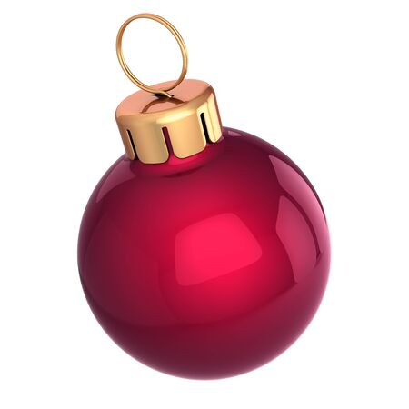 Small Christmas ball bauble red glossy close-up. New Year's Eve Merry Xmas decoration glossy icon. 3d rendering