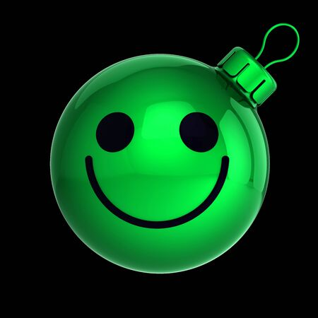 Funny green Christmas ball smiling face expression avatar New Year bauble cartoon decoration. Merry Xmas cheerful funny person laughing character. 3d rendering over black Banque d'images