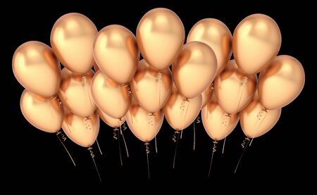 Baloons golden party balloon group banner luxury. Happy birthday event decoration helium ballon cluster metallic. 3d rendering over black Banque d'images