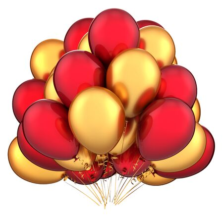 Luxury decoration birthday balloons bunch party baloons event invitation greeting card gold red. Carnival celebration icon concept. 3d rendering