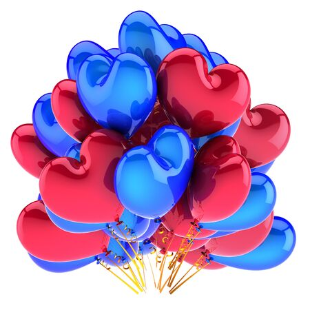 Baloons birthday party heart shaped balloons bunch blue red glossy decoration. Valentine wedding marriage greeting card design element. 3d rendering Stock Photo