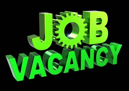 JOB VACANCY text green banner unemployment banner gear wheel. Find work looking searching icon concept. 3d rendering isolated on black