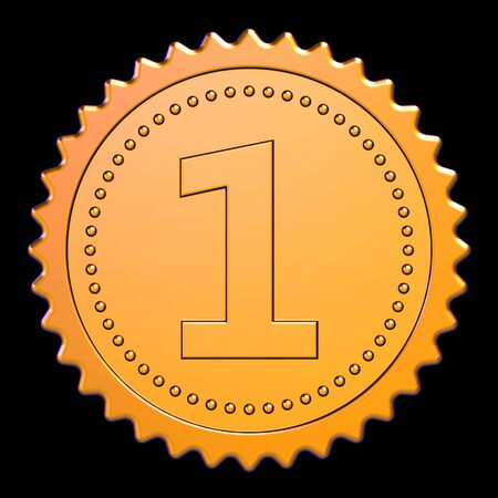 Gold stamp number one 1 first place award reward medal rosette. Achievement best badge winner design element. 3d rendering isolated on black Banque d'images