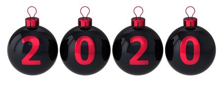 Christmas balls 2020 beginning New Year decoration black red date numbers double twenty. Merry Xmas greeting card design element. 3d illustration Banque d'images