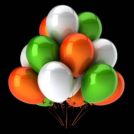 Baloons balloons bunch carnival birthday party decoration white green orange. Colorful helium ballons group flying up. Anniversary celebration symbol. 3d rendering over black