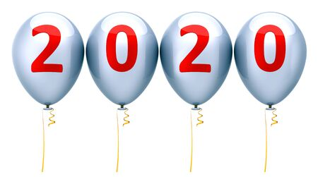 New Year party balloons 2020 era anniversary silver red glossy. Celebrate banner calendar date numbers twenty background. 3d rendering Banque d'images