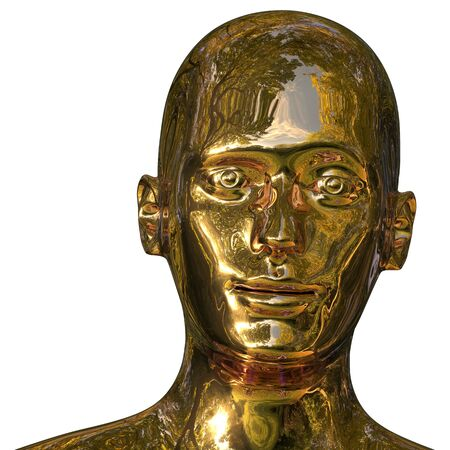 Robot iron head golden man android face polished solid. Futuristic cyborg android friendly artificial AI character portrait metallic. 3d rendering