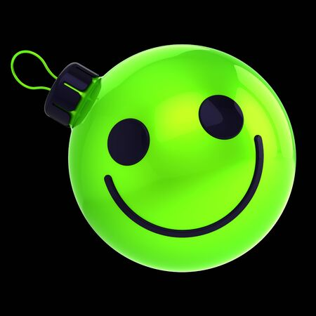 Neon green Christmas ball smiling face expression avatar New Year bauble cartoon decoration fluorescent. Merry Xmas funny person character concept. 3d rendering over black Banque d'images