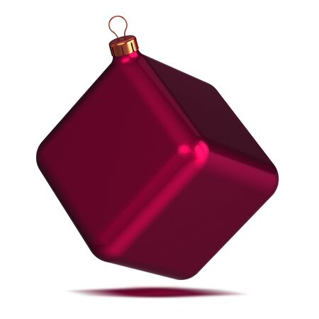 Box decoration Christmas ball as cube red New Year's Eve souvenir block single. Happy New Year Merry Xmas bauble funny odd ugly. 3d rendering