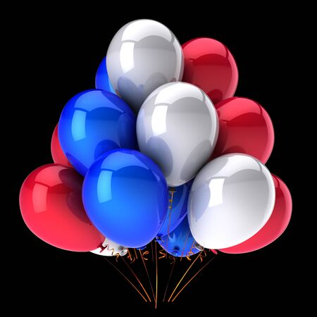 Red blue white party balloons bunch glossy colorful baloons. Holiday event birthday decoration classic. Carnival anniversary celebration symbol. 3d rendering isolated on black