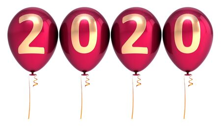 New Year 2020 balloons party balloons red gold sparkling glossy. Merry Christmas banner number twenty background. 3d rendering Banque d'images