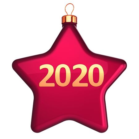 Red star shape New 2020 Year's Eve Christmas ball bauble decorated with gold number twenty era date. Wintertime holidays decoration. 3d rendering