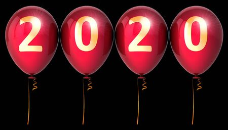 New Year's Eve 2020 party balloon balloon twenty anniversary red golden sparkling decoration. Merry Christmas New Year's Day banner. 3d rendering over black