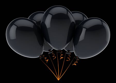 black balloon birthday carnival party decoration dark. Helium balloons bunch glossy. Holiday, anniversary invitation. 3d rendering over black