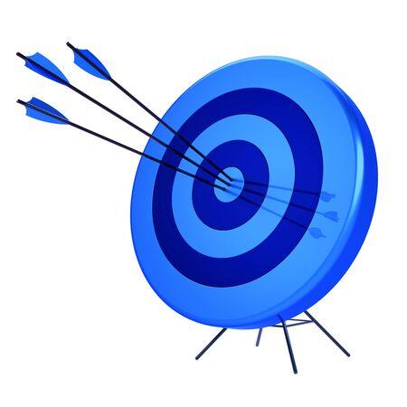 Arrows target precision hit bulls-eye bullseye archery shooting icon blue. Success focus aiming sport ambition concept. 3d illustration