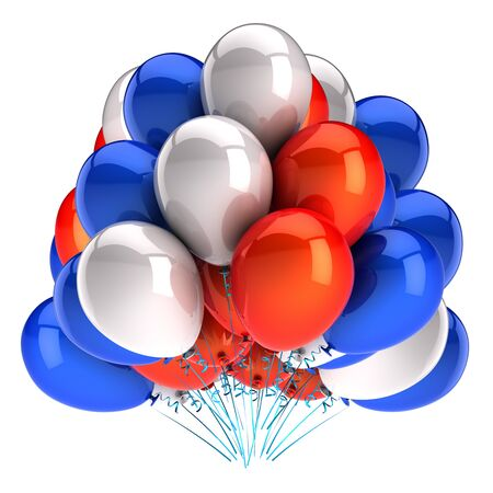 Baloons orange blue white party balloons bunch glossy colorful. Event birthday anniversary decoration. Carnival celebration symbol. 3d rendering isolated Banque d'images