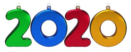 New 2020 Year double twenty number as Xmas baubles colorful calendar date. Happy New era anniversary celebration banner. 3d rendering isolated Banque d'images