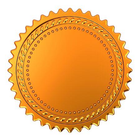 Blank rosette golden stamp award reward medal. Achievement best badge winner template design element empty. 3d illustration isolated