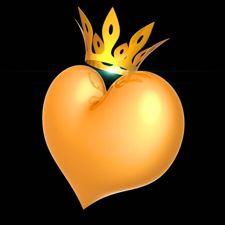 Heart king royal queen love golden crown side view. Lucky love Valentines Day 14 february icon concept. 3d rendering isolated on black 写真素材