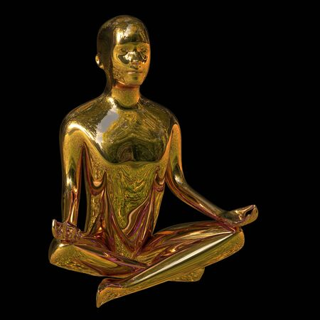 Yoga golden lotus position man figure polished sparkling stylized. Peaceful nirvana meditate mind balance balance symbol. Mental guru recreation character. 3d rendering over black Stok Fotoğraf
